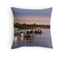 Boats Trippers Returning Home - British Coast And Beach  Throw Pillow