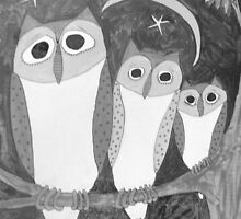 Whimsical OWL Trio 3 Owls in Black & White Folk Art  by art-by-micki