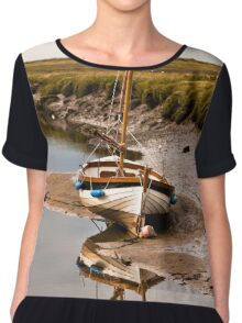 Wait For The Tide - British Coast And Beach  Chiffon Top