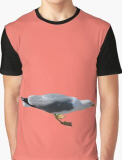 Seagull on peach echo background Graphic T-Shirt