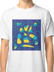 Playful abstract art - blue and yellow Classic T-Shirt