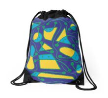 Playful abstract art - blue and yellow Drawstring Bag