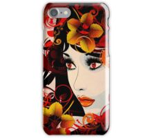 Autumn Girl with Floral Grunge iPhone Case/Skin