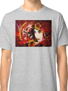Autumn Girl with Floral Grunge Classic T-Shirt