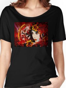 Autumn Girl with Floral Grunge Women's Relaxed Fit T-Shirt