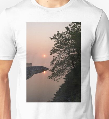Pink and Green Summer - Soft Misty Sunrise on the Lake Unisex T-Shirt