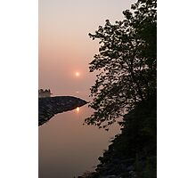 Pink and Green Summer - Soft Misty Sunrise on the Lake Photographic Print