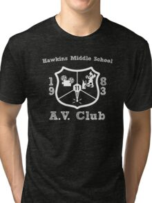 Hawkins Middle School AV Club - White Tri-blend T-Shirt