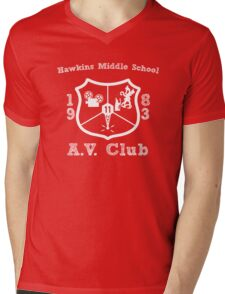 Hawkins Middle School AV Club - White Mens V-Neck T-Shirt