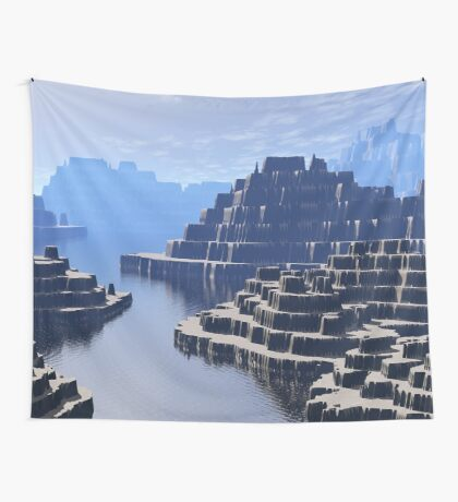 Mysterious Terraced Mountains Wall Tapestry