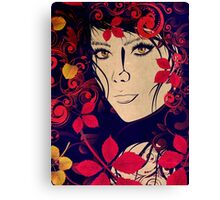 Autumn Girl with Floral Grunge 2 Canvas Print