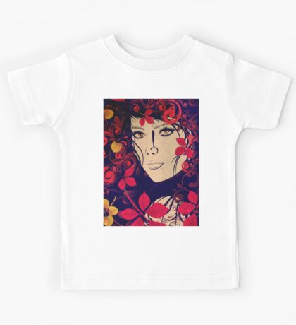 Autumn Girl with Floral Grunge 2 Kids Tee