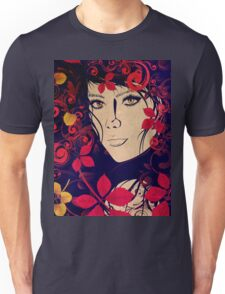 Autumn Girl with Floral Grunge 2 Unisex T-Shirt