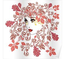 Autumn Girl with Floral 2 Poster