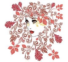 Autumn Girl with Floral 2 Photographic Print