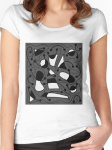 Playful abstract art - gray Women's Fitted Scoop T-Shirt