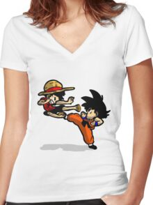 son goku vs luffy Women's Fitted V-Neck T-Shirt