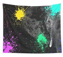 SAFARI COLORS POP - ELEPHANT Black Edition Wall Tapestry