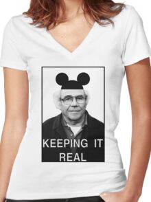Baudrillard - Keeping it real Women's Fitted V-Neck T-Shirt