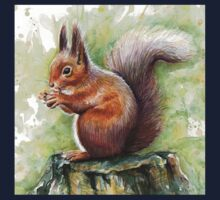 Cute Squirrel Watercolor Painting Kids Clothes
