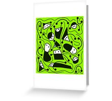 Playful abstract art - green Greeting Card