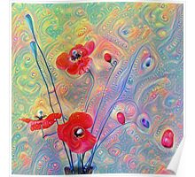 #Deepdreamed Poppies Poster