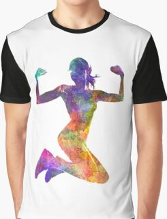Woman runner jogger jumping powerful Graphic T-Shirt