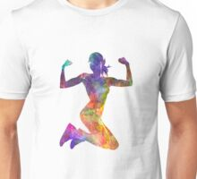 Woman runner jogger jumping powerful Unisex T-Shirt