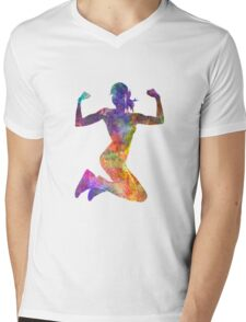 Woman runner jogger jumping powerful Mens V-Neck T-Shirt