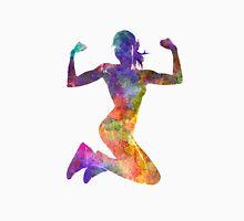 Woman runner jogger jumping powerful Unisex T-Shirt