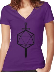 d20 Sword Women's Fitted V-Neck T-Shirt