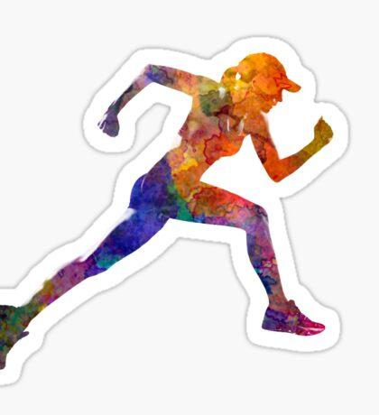 Woman runner jogger running Sticker