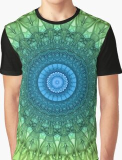 Delicate mandala in light green and blue colors Graphic T-Shirt