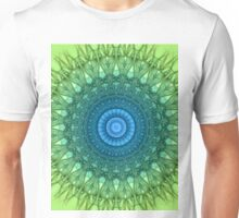 Delicate mandala in light green and blue colors Unisex T-Shirt
