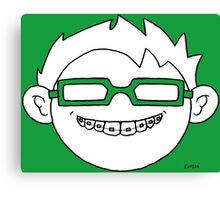 Superhero and nerd with braces and customizable glasses Canvas Print