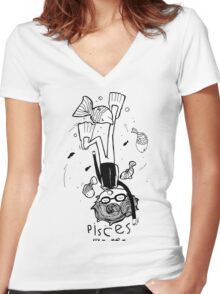 Zodiac Signs: Pisces Women's Fitted V-Neck T-Shirt