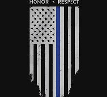 Thin Blue Line American Flag T-Shirt - Vertical Flag - Black Unisex T-Shirt