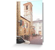 Central Square and Comune Building with Bell Tower Paciano Greeting Card