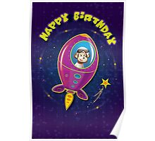 Space Monkey birthday card Poster