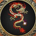 Golden Chinese Dragon Fucanglong on Black  by Captain7