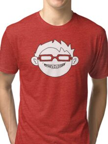 Superhero and nerd with braces and customizable glasses Tri-blend T-Shirt