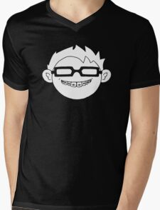 Superhero and nerd with braces and customizable glasses Mens V-Neck T-Shirt