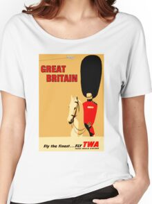 """TWA AIRLINES"" Fly to Great Britain Advertising Print Women's Relaxed Fit T-Shirt"