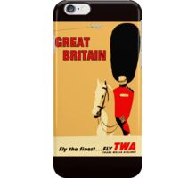 """TWA AIRLINES"" Fly to Great Britain Advertising Print iPhone Case/Skin"