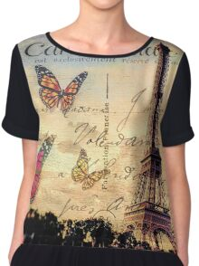 Vintage Paris-Carte Postale Chiffon Top