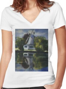 Windmill In The Willows Women's Fitted V-Neck T-Shirt