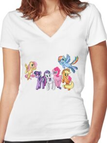 Mane Six Series ~ The Elements of Harmony Women's Fitted V-Neck T-Shirt