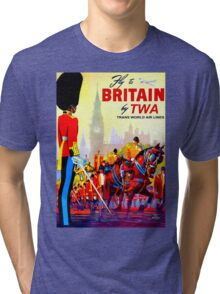 """""""TWA AIRLINES"""" Fly to Britain Advertising Print Tri-blend T-Shirt"""