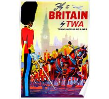 """TWA AIRLINES"" Fly to Britain Advertising Print Poster"