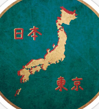 Vintage map of Japan Sticker